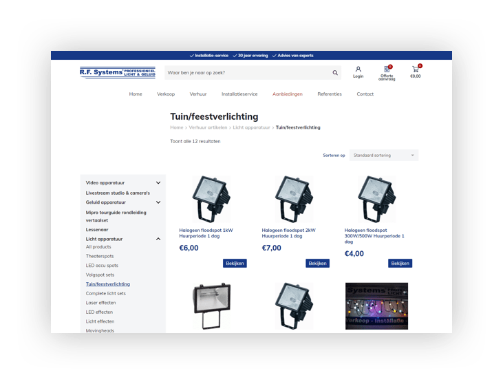 WooCommerce webshop R.F. Systems - categoriepagina
