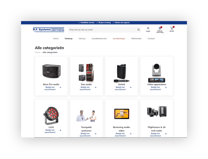 WooCommerce webshop R.F. Systems - categorie-overzicht
